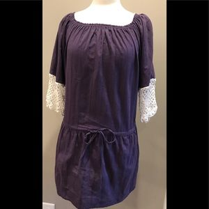 Purple tunic with crochet sleeves